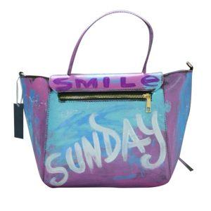 Designer Ledertasche hellblau rosa SUNDAY b