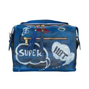 Designer Ledertasche blau SUPER HOT 02