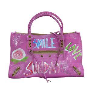 Designer Ledertasche pink SMILE 02
