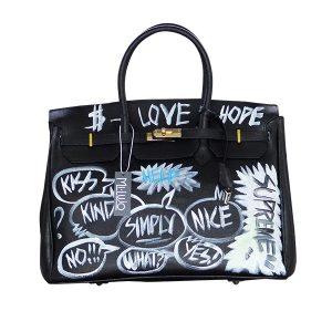 Designer Ledertasche schwarz LOVE HOPE