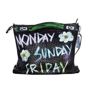 Designer Ledertasche schwarz Monday