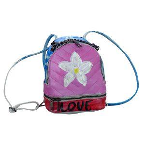 design Lederrucksack pink blau a