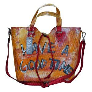 design ledertasche orange a